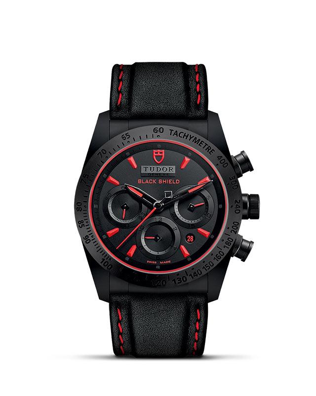 Fastrider Black Shield – 42 mm ceramic case – Black leather strap Image