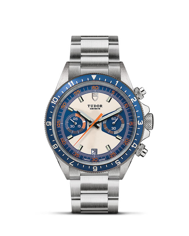 Heritage Heritage Chrono – Opaline and blue dial – Steel bracelet Image